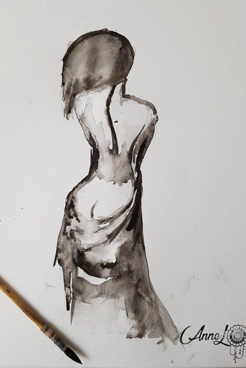 Annel- Aquarelle au pinceau- Chute hanche hantée-