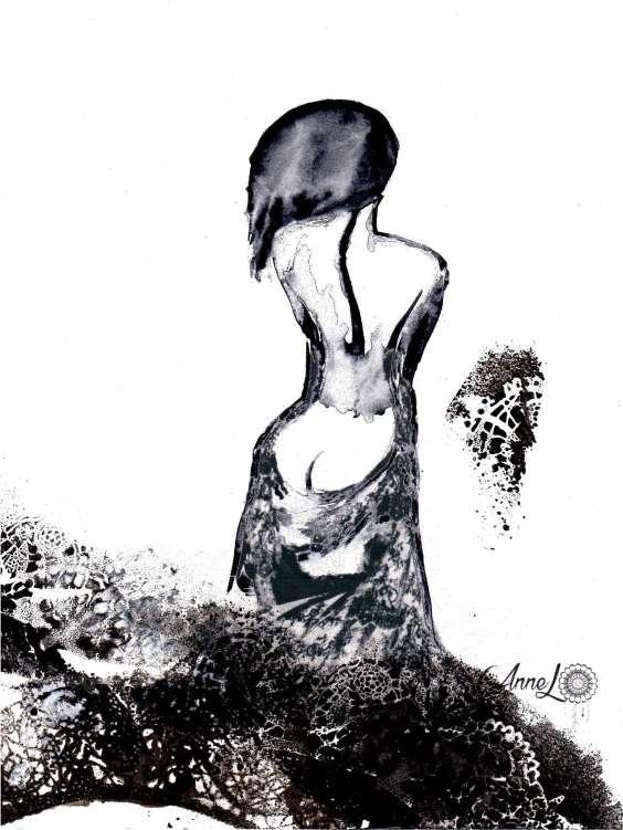 Annel- chute hanche hantée-aquarelle dentelle et spray- 18x24 cm