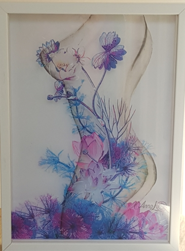 Annel- effleure-moi- cadre aquarelle- couleurs et acrylique- 21x29,7 cm