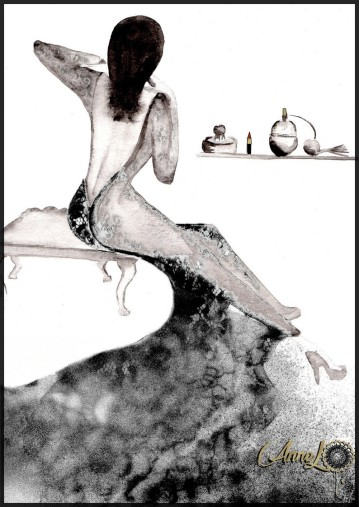 AnneL- robe d'intérieur- aquarelle spray et dentelle